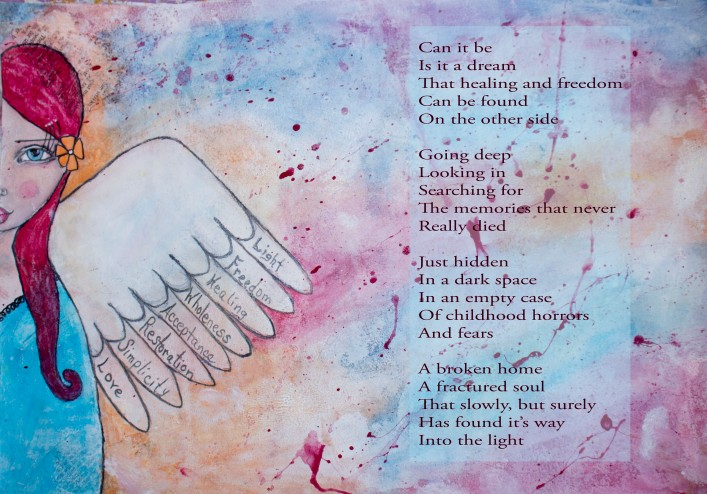 Wings to fly - Poem on Mixed media